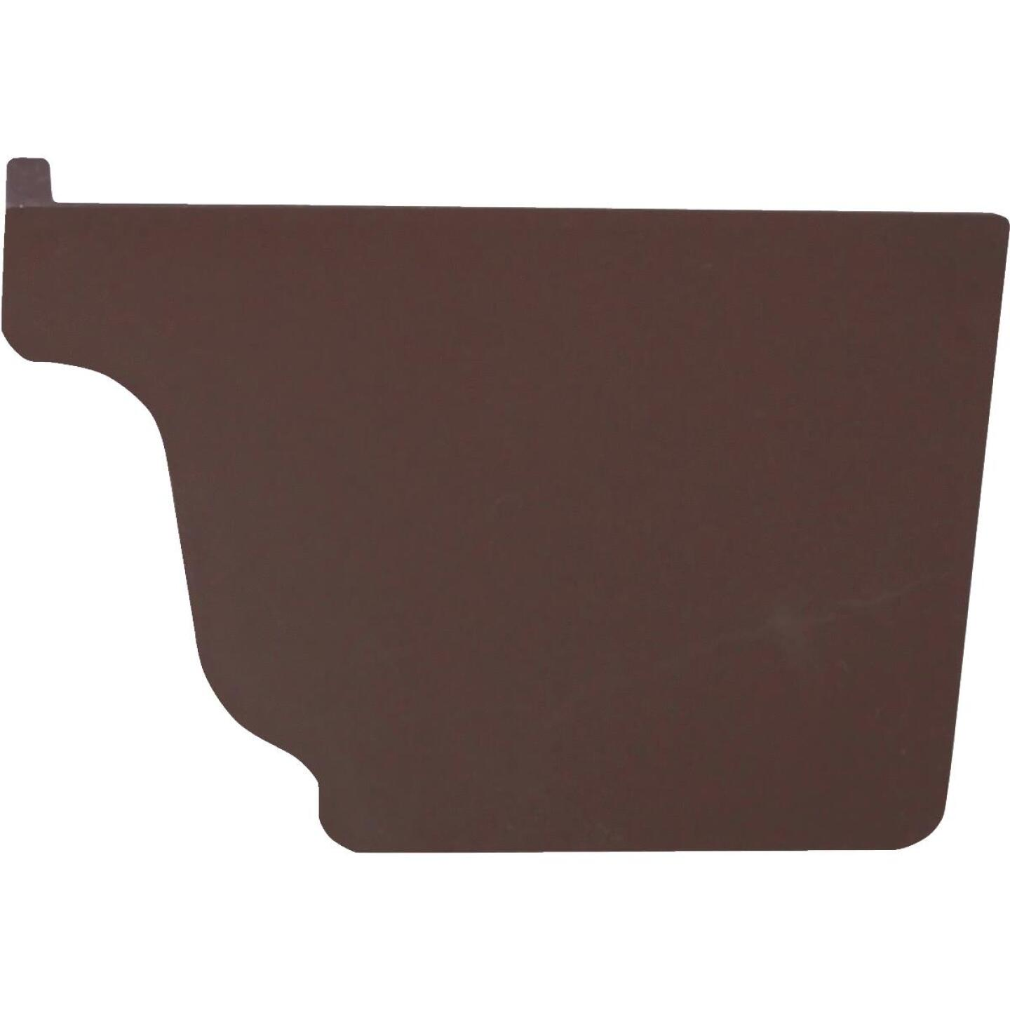 Repla K 5 In. Vinyl Brown Right Gutter End Cap Image 1