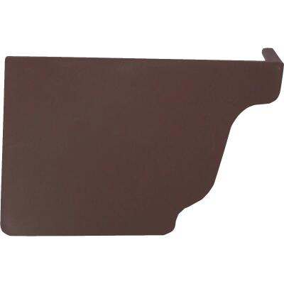 Repla K 5 In. Vinyl Brown Left Gutter End Cap
