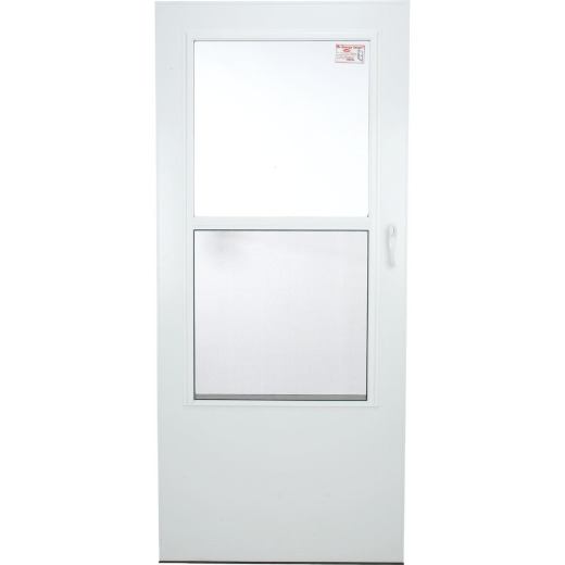Larson Value-Core 36 In. W x 80 In. H x 1 In. Thick White Self-Storing Aluminum Storm Door