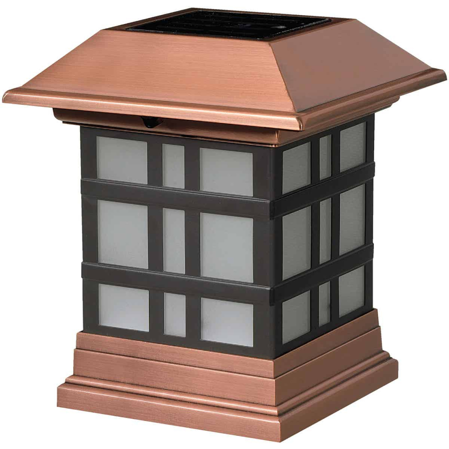 Deckorators 4 In. x 4 In. Dynasty Copper Designer Solar Post Cap Image 1