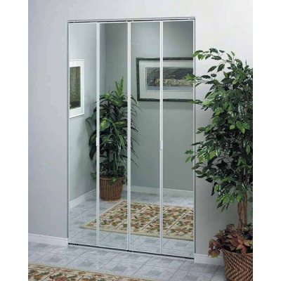 Erias Series 4400 36 In. W. x 80-1/2 In. H. Steel Frame Mirrored White Bifold Door