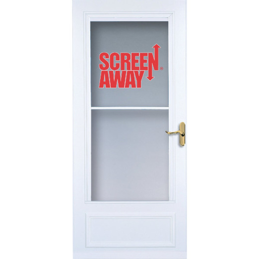 Larson Screenaway Lifestyle 32 In. W x 80 In. H x 1 In. Thick White Mid View DuraTech Storm Door