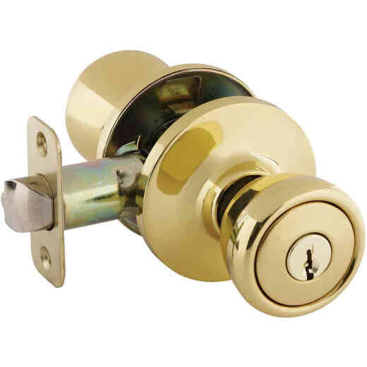 Ultra Hardware Ultra Security Series Polished Brass Entry Door Knob