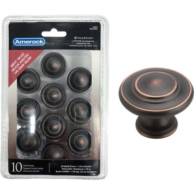 Amerock Inspirations Oil Rubbed Bronze 1-5/16 In. Cabinet Knob, (10-Pack)