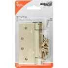 National 4 In. Square Satin Brass Spring Door Hinge Image 2