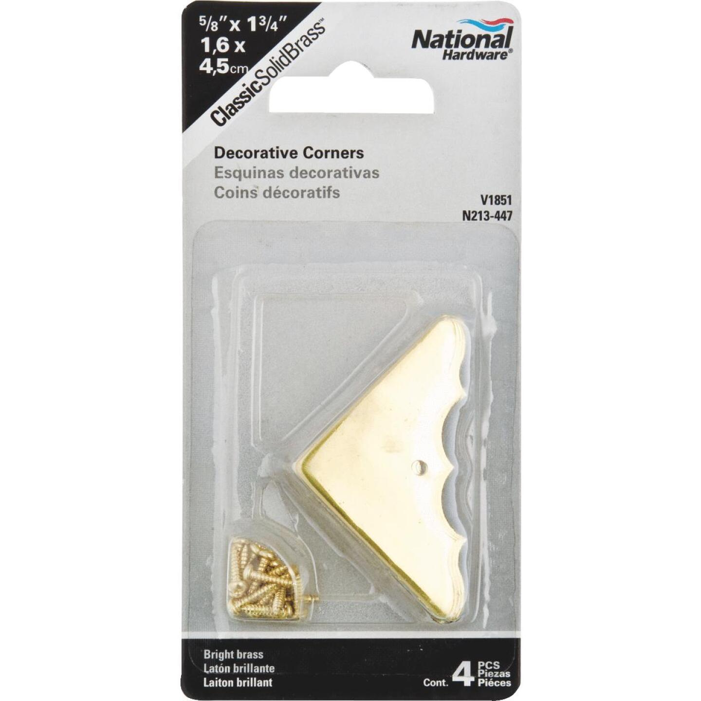 National Catalog V1854 5/8 In. x 1-3/4 In. Brass Decorative Corner Protector (4-Count) Image 2