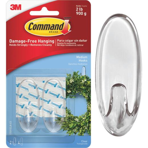 Command Clear Adhesive Hook (2 Pack)