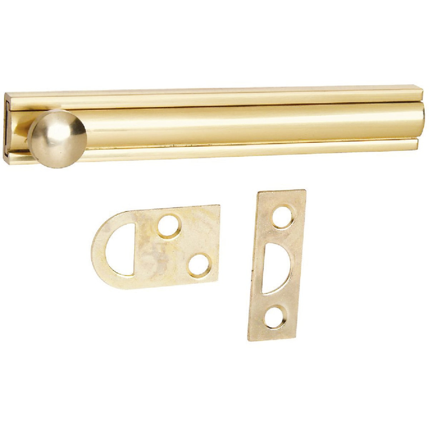 National Gallery Series 4 In. Polished Brass Door Surface Bolt Image 1