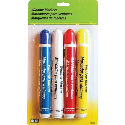 Hy-Ko Red/Blue/White/Yellow Window Marker (4-Pack)
