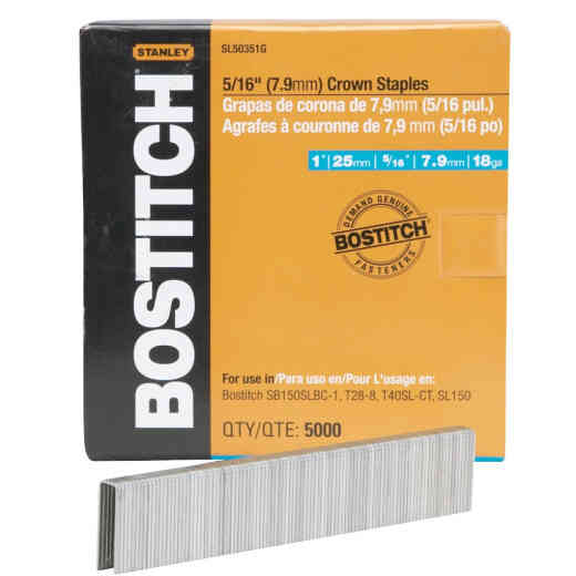 Bostitch 18-Gauge 5/16 In. x 1 In. Pneumatic Cap Staples (5000 Ct.)