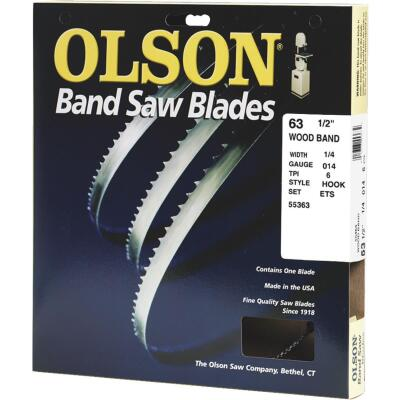 Olson 63-1/2 In. x 1/4 In. 6 TPI Hook Wood Cutting Band Saw Blade