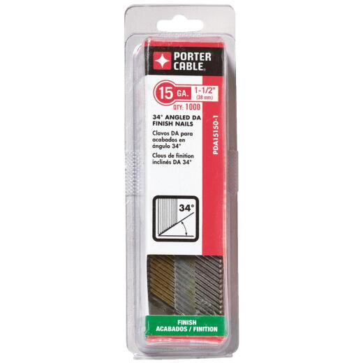 Bostitch 15-Gauge Bright Basic 34 Degree DA-Style Angled Finish Nail, 1-1/2 In. (4000 Ct.)
