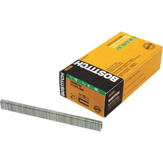 Bostitch 18-Gauge Galvanized Narrow Crown Finish Staple, 7/32 In. x 1/2 In. (7000 Ct.)