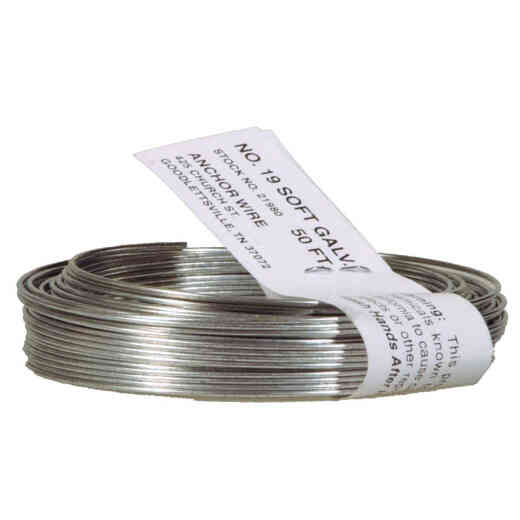 HILLMAN Anchor Wire 50 Ft. 19 Ga. Galvanized Steel Mechanics and Stovepipe General Purpose Wire, Coil