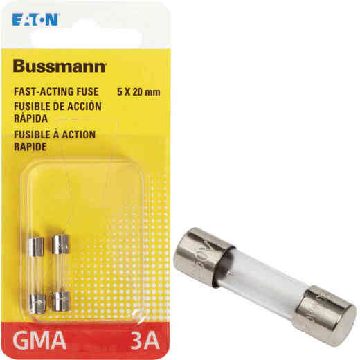 Bussmann 3A GMA Glass Tube Electronic Fuse (2-Pack)