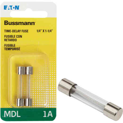 Bussmann 1A MDL Glass Tube Electronic Fuse (2-Pack)