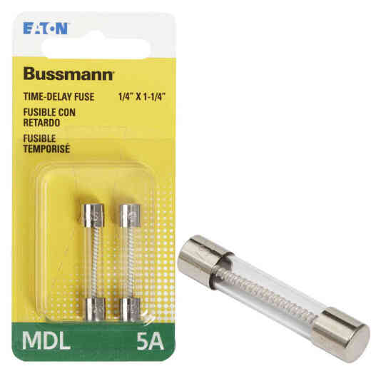 Bussmann 5A MDL Glass Tube Electronic Fuse (2-Pack)