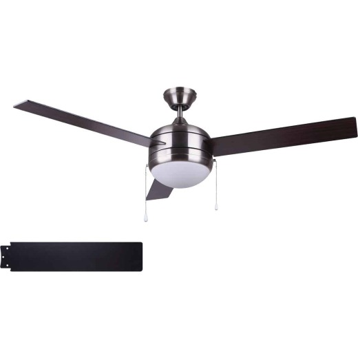 Home Impressions Sardiac 52 In. Brushed Nickel Ceiling Fan with Light Kit