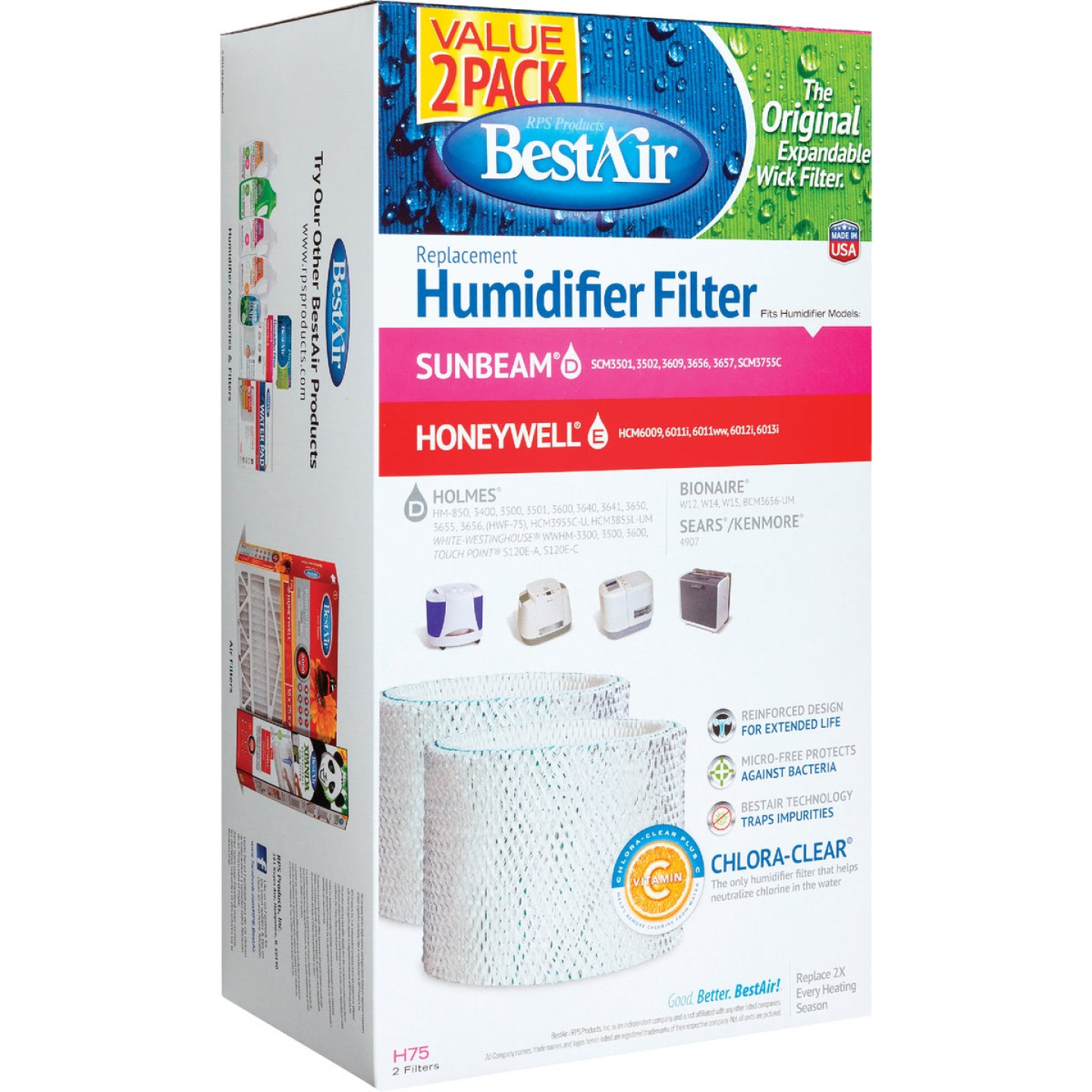 Best Air Replacement Floor Humidifier Wick Filter (2-Pack) Image 1