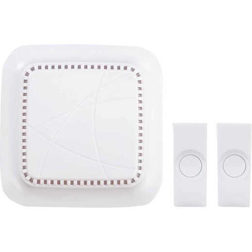 Heath Zenith Battery Operated White Wireless Door Chime Kit