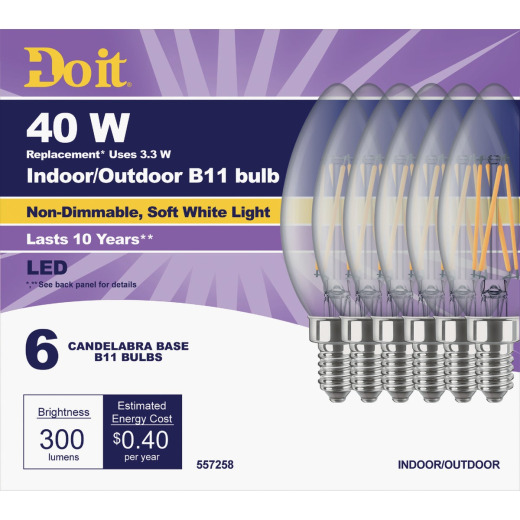 Do it 40W Equivalent Soft White B11 Candelabra LED Decorative Light Bulb, Title 20 (6-Pack)