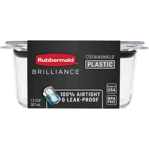 Rubbermaid Brilliance 1.3 C. Clear Rectangle Food Storage Container