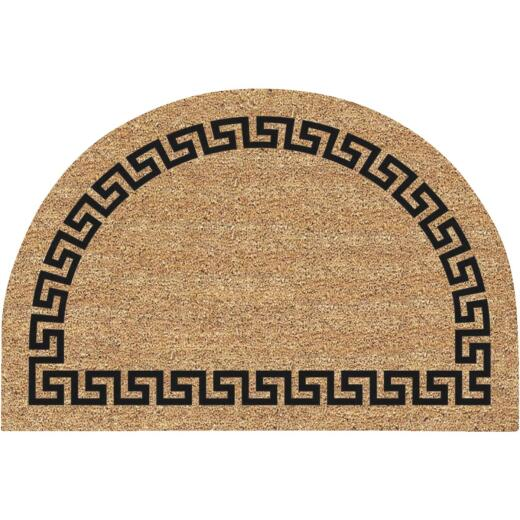 Americo Home Greek Key 24 In. x 36 In. Coir/Vinyl Half Round Door Mat