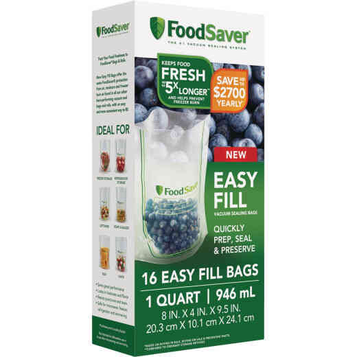 FoodSaver Easy Fill Qt. Vacuum Sealer Bags (16 Count)