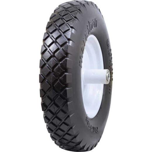 Marathon 16 x 480/400-8 In. Flat Free Wheelbarrow Wheel with Knobby Tread