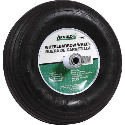 Arnold 14 x 400-6 In. Pneumatic Wheelbarrow Wheel with 6 In. Hub