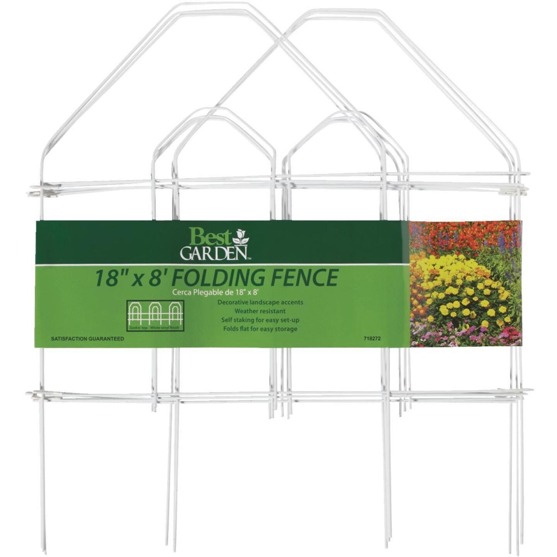 Best Garden 8 Ft. White Galvanized Wire Folding Fence Image 4