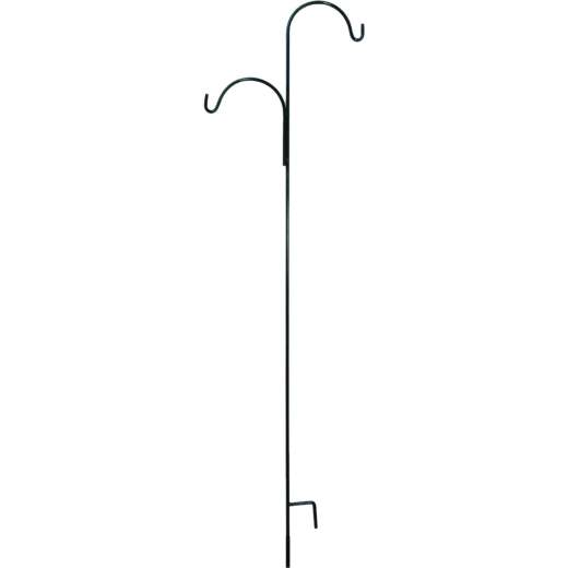American Gardenworks 91 In. Black Steel Offset Double Hanger Shepherd Hook
