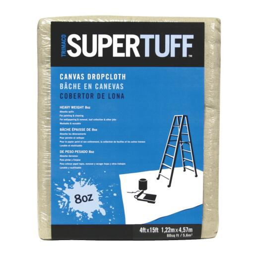 Trimaco SuperTuff Canvas 4 Ft. x 15 Ft. 8 Oz. Drop Cloth