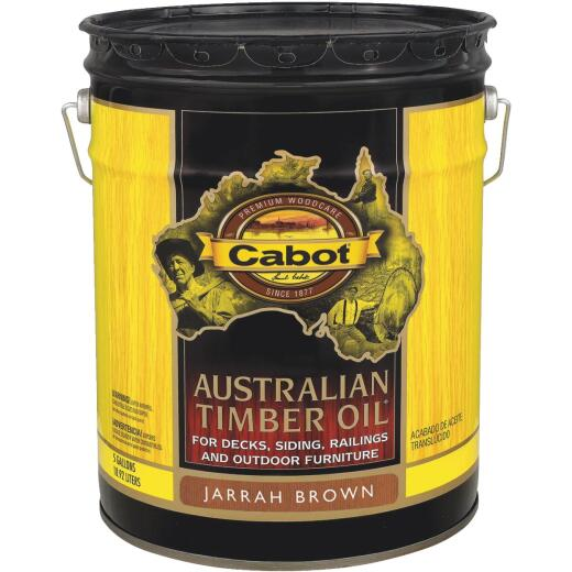 Cabot Australian Timber Oil Translucent Exterior Oil Finish, Jarrah Brown, 5 Gal.