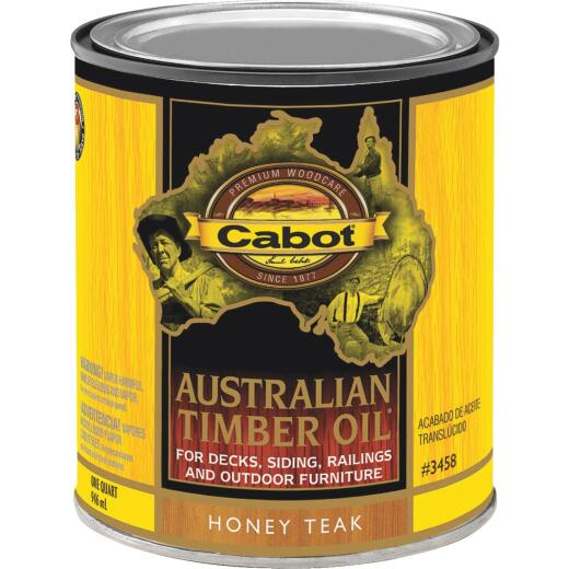 Cabot Australian Timber Oil Translucent Exterior Oil Finish, Honey Teak, 1 Qt.