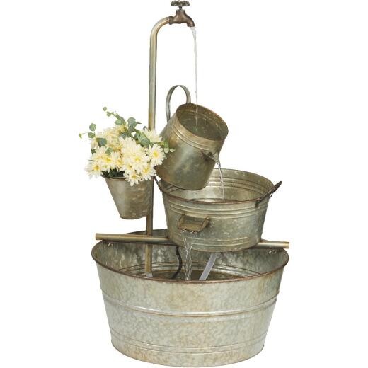 Best Garden 22 In. W. x 33 In. H. x 22 In. L. Galvanized Metal Bucket Fountain