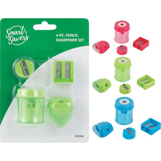 Smart Savers Manual Pencil Sharpener Set (4-Piece)